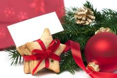 冷杉分行和圣诞节曲奇饼 库存图片