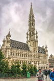 冷杉木和未认出的游人在布鲁塞尔香港大会堂Stadhuis搬运车布鲁塞尔,布鲁塞尔,比利时附近 免版税库存图片