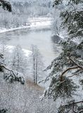 冷河时间冬天 免版税库存照片