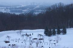 冷淡的冬天早晨在公园 在背景中被看见河德聂伯级和大厦在左岸的薄雾 基辅 免版税库存照片