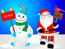 冷淡的圣诞老人雪人 库存照片