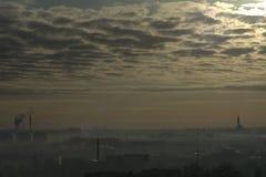 冷淡的早晨在Bialystok 库存照片