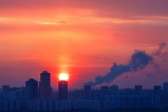 冷淡的晚上在莫斯科, 免版税图库摄影