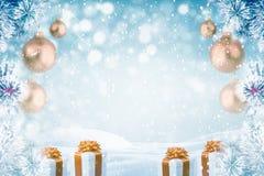 冷淡的杉树圣诞节装饰 库存图片