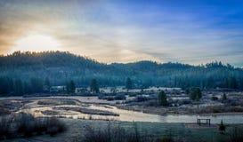 冷淡的爱达荷山春天日出 库存图片