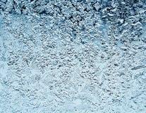 冷淡的自然模式视窗冬天 在玻璃的弗罗斯特样式 库存图片