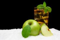 冷淡的苹果汁、冰块和苹果与叶子在黑色在雪 免版税库存图片