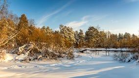 冷淡的晴天在乌拉尔有一条冻河和桥梁的,俄罗斯一个森林 免版税库存照片