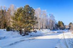 冷淡的晴朗的早晨在乌拉尔森林里,河,俄罗斯 免版税库存图片