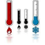 冷热温度温度计向量 免版税图库摄影