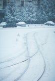 冷的冬天都市风景在乌克兰 库存照片