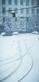 冷的冬天都市风景在乌克兰 免版税库存图片