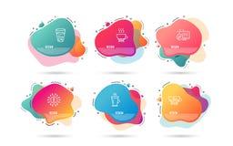 冷的咖啡、冰茶和浓咖啡象 拿铁标志 在饮料,苏打饮料,热的饮料的冰块 向量 皇族释放例证
