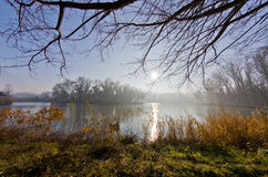 冷的在一个小湖的秋天晴朗的早晨 免版税库存照片