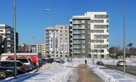 冷的天和积雪的路 库存图片