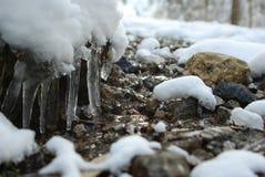 冷的山行迹 免版税库存图片