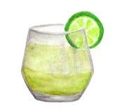 冷的新柠檬水饮料手画水彩与在白色背景隔绝的石灰的,与裁减路线 图库摄影