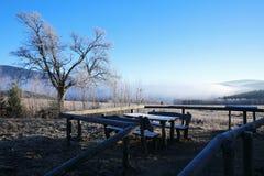 冷的早晨在Sumava国家公园、小山和村庄雾的和霜,有薄雾的看法在捷克风景,蓝色冬天场面, 库存照片