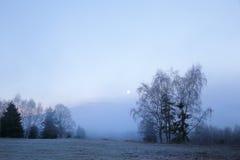 冷的早晨在Sumava国家公园、小山和村庄雾的和霜,有薄雾的看法在捷克风景,蓝色冬天场面, 图库摄影
