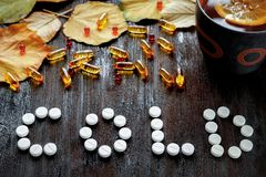 冷的秋天-药片,在黑暗的木头的叶子的概念 库存照片