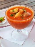 冷的gazpacho用在玻璃碗的大蒜油煎方型小面包片 免版税库存图片