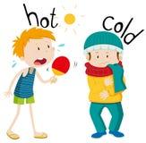 冷相反的形容词热和 库存例证