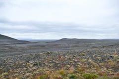 冷面和苛刻的风景在冰岛的东北高地地区 免版税库存照片