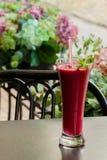 冷冻果子莓果甜深红鸡尾酒和秸杆它的 夏天点心 免版税图库摄影