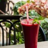 冷冻果子莓果甜深红鸡尾酒和秸杆它的 夏天点心 免版税库存图片