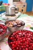 从冷冻樱桃和李子的果酱 免版税图库摄影