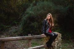 冷却白肤金发的女孩坐木篱芭 库存图片
