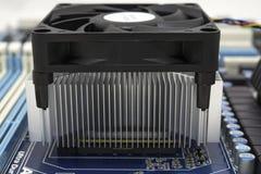冷却风扇和幅射器在处理器 库存图片