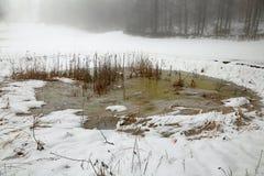 冻山池塘在与白色雪的冬天 库存照片