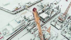 冻海口,冬天停泊处船,直升机射击 影视素材