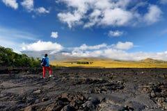 冻熔岩毛面在冒纳罗亚火山火山爆发以后的在大岛,夏威夷 库存图片
