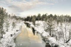 冻结湖在Inari,芬兰 免版税库存图片