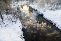 冻结湖在Inari,芬兰 库存照片