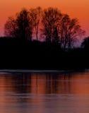 冻结湖日落结构树 免版税库存照片