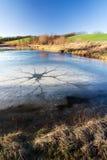 冻结的横向池塘春天冬天 免版税库存图片