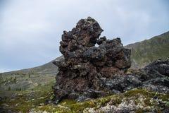 冻结的火山的熔岩石头数千在爆发以后的几年 免版税图库摄影