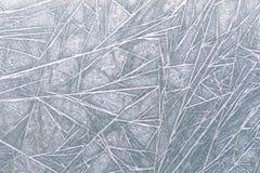 冻结的窗冰样式纹理、雪花和冰冷的背景,特写镜头,软的焦点 库存照片