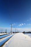 冻结的线路铁路冬天 库存图片