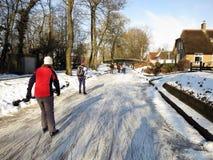 冻结的荷兰冰横向溜冰者冬天 免版税库存照片