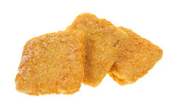 冻结的面包黑线鳕片 免版税库存图片
