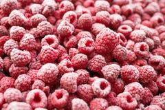 冻结的paspberries 射击在角度 免版税库存图片