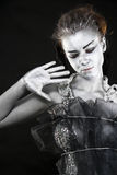 冻结神秘的银色妇女 免版税库存图片