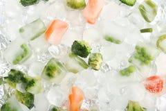 冻菜和冰块 免版税库存照片