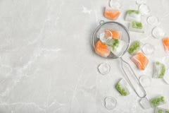 冻菜和冰块 库存照片