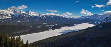 冻Kananaskis湖Panoramatic视图在卡纳纳斯基斯国家,亚伯大,加拿大 库存图片