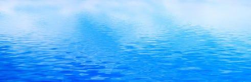 净水背景,安静波浪 横幅,全景 免版税库存照片